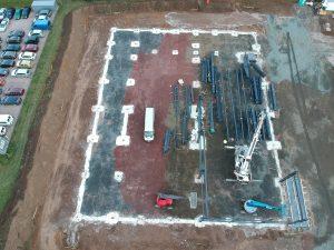 UFG Gotha, das Aufbauen der Halle beginnt