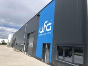 Die Außenwerbung von dem Neubau von UFG-Gotha